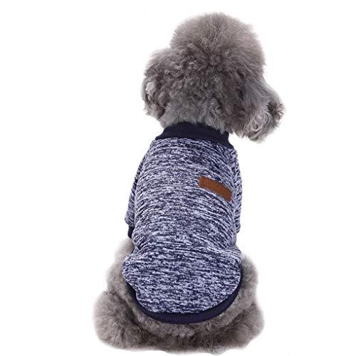 Fashion Focus On Pet Dog Kleidung Strickwaren Pullover Weich Haarverdichtung Warm Pup Hunde Shirt Winter Puppy Pullover für Hunde, Medium, Marineblau