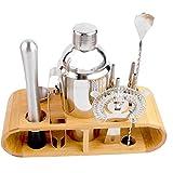 12 piezas de cóctel Shaker Set, que hace el kit del camarero con el soporte de madera Barra de Herramientas para Cocktail Barman Profesional de la coctelera de acero inoxidable de mezcla Kitchen & Bar