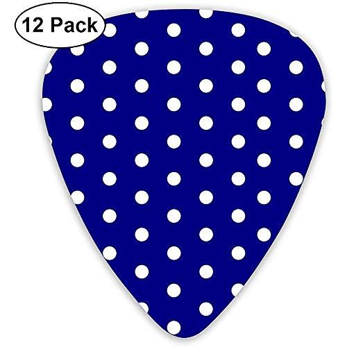 Witte blauwe stippen Polka Zeshoek Navy.png Klassieke Gitaar Picks (12 Pack) voor Elektrische Gitaar, Akoestische Gitaar, Mandoline en Bas