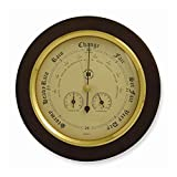 """Bey-Berk WS078 Barometer with Thermometer and Hygrometer on 9"""" Cherry Wood with Brass Bezel, Brown"""