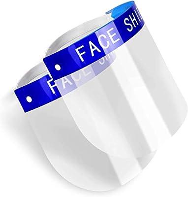 2PCS Safety Face Shield Full Protection Cap Wide Visor Resistant Spitting Anti-Fog Lens, Lightweight Adjustable Transparent Face Shield for Men Women (2PACK)