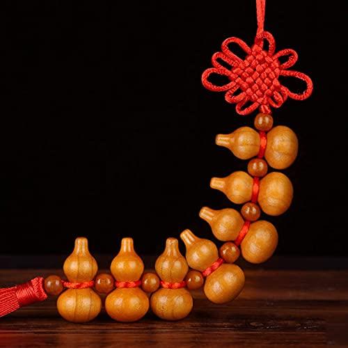 DIELUNY Wu Lu Feng Shui Decoraciones, Madera de Durazno Wu Lou/Hu Lu Gourd Borla Adornos Colgantes, Colgante Chino de Buena Suerte