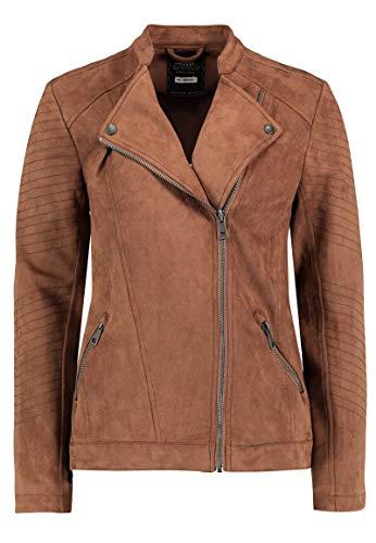 Stitch & Soul Damen Biker-Jacke aus Veloursleder-Imitat Brown L