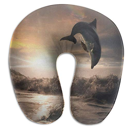 BEASDEN U Shaped Travel Pillow,Sunset Dolphin Best Neck Pain Relief Pillows Portable Pillow for Sleeping Recliner Chair Washable Pillowcase