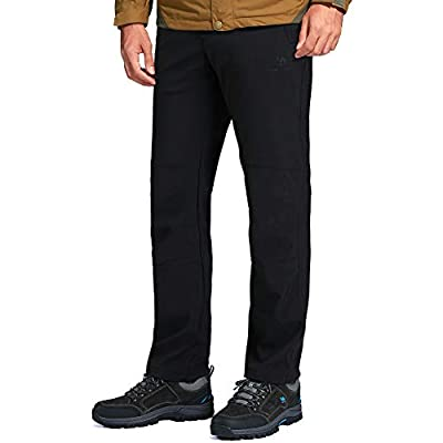 CAMEL CROWN Men's Waterproof Hiking Pants Ski Fleece Lined Insulated Warm Soft Shell Pants Black