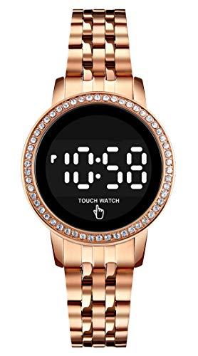 Damenuhr Rosegold Uhr Damen Rund Klassisch Digital Quarz Uhren Edelstahl Mädchen Wasserdicht Hintergrundbeleuchtung Armbanduhren für Damenuhren