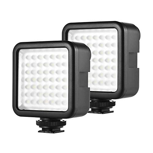 Andoer LED Videoleuchte Video Licht Kameralicht, 49 led Mini-Interlock-Kamera, LED-Panel-Licht, Dimmbare Camcorder Video-Beleuchtung mit Shoe Mount Adapter für Canon Nikon Sony A7 DSLR (49 Led * 2pcs)