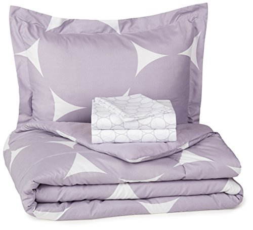 AmazonBasics 5-Piece Bed-In-A-Bag Comforter Bedding Set - Twin or Twin XL, Purple Mod Dot, Microfiber, Ultra-Soft