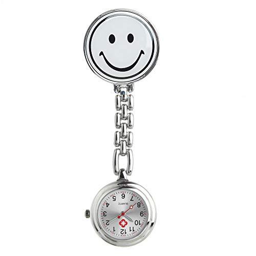 Cxypeng Krankenschwesteruhr,Smiley Krankenschwestertisch medizinische Wanduhr Brustuhr Taschenuhr wasserdicht Student Tisch-weiß,Medizinische Taschen Uhren
