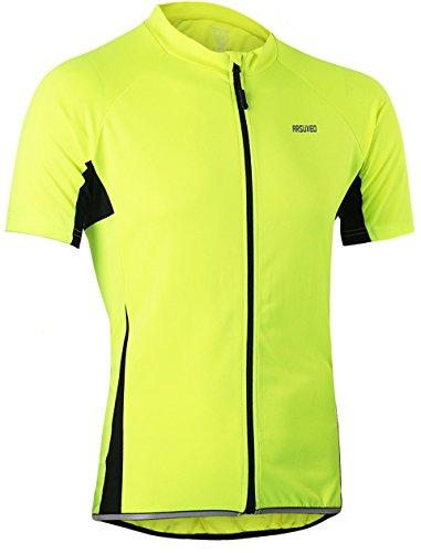 Lakaka-EU Radtrikot Kurzarm Herren Atmungsaktiv Fahrrad Trikot Full Reißverschluss Schnell Trocken Radsport MTB Fitness Jersey (EU XL (Tag XXL), Hellgrün)