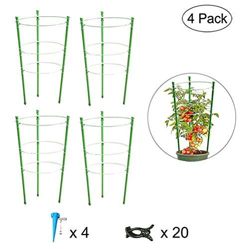 Oulian 4 Pack Garden Plant Support Ring, Garden Trellis Flowers Tomato Stand Plant Tomato Cage for Vertical Climbing Plants Support Climbing Vegtables&Fruit Grow Cage With 3 Adjustable Rings 45cm