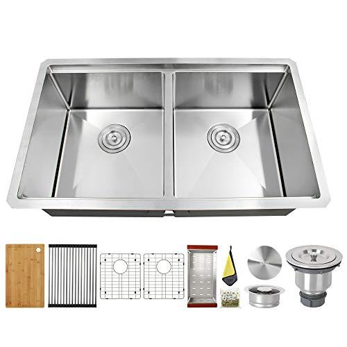 LQS Stainless Steel Undermount Kitchen Sink 32'x 19',Workstation Ledge Kitchen Sink Handmade Undermount 50/50 Double Bowl Stainless Steel Kitchen Sinks, 16 Gauge With Deep Sink Bowl