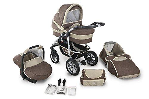 Clamaro 'CORAL' Kinderwagen 3in1 Kombi System mit Babywanne, Sport Buggy und 0+ (0-13 kg) Auto Babyschale, Luftreifen, Federung, Schwenkräder und EASY-STOP Bremse - 23. Leinen Braun Cappuccino
