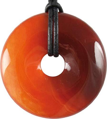 Carneol Donut, 40 mm mit Lederband und Samtbeutel, Edelstein Kristall Anhänger Karneol rot orange