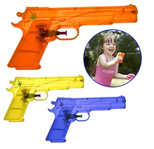 O&W Security 3 pistolas de agua con chorro de agua largo de alta calidad de ABS duradero multicolor para niños y adultos playa piscina jardín 20 x 16 cm