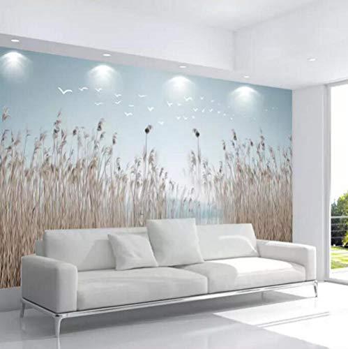Pbbzl aangepaste behang 3D foto muurschildering nieuwe Chinese Scandinavische eenvoudige bloemen en planten rieten vers nachtkastje achtergrond muur papier 150x120cm