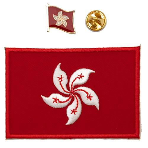 A-ONE Aufnäher mit Flagge von Hongkong, mit Anstecknadel, Bauhinien-Flagge, Metall, Militär, taktisches Abzeichen zum Aufbügeln oder Aufnähen, 2 Stück
