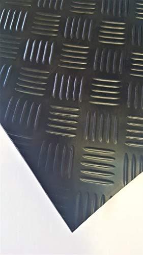 Riffelmatte 140cm breit - Länge: 250cm (2.5m) - Länge wählen von 10cm bis 1000cm (0.1m - 10m) - Hammerschlagmatte Gummiläufer für Werkstatt Boden Anhänger Regale