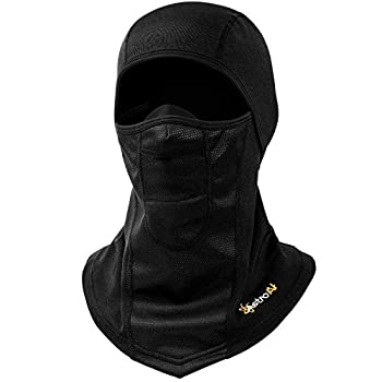 AstroAI Ski Mask Windproof Balaclava for Cold Weather Winter Face Mask Breathable Stretchable for Skiing Snowboarding & Motorcycle Riding Full Protection Black Mask for Men/Women Black