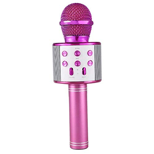 Rotto® Wireless Bluetooth Microphone for Karaoke with Inbuilt Speaker with Audio Recording or All iOS/Android Smartphone (Pink)