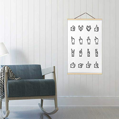 Hitecera Hand Gestures - Outline icon Set Illustration Thumbs Up,Poster Frames Handshake Poster 19x29in(WxH)