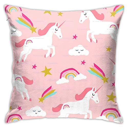 PageHar Throw Cushion Case,Uni-Corn Pink Square Pillow Premium Pillow Cover for Thanksgiving Gift Sofa Hotel,45X45cm