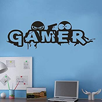 Wall Decals Gamer Self Adhesive Removable Sticker Art Vinyl Wall Stickers Pvc Mural Wallpaper Decorator For Boys Bedroom Living Room Amazon Com