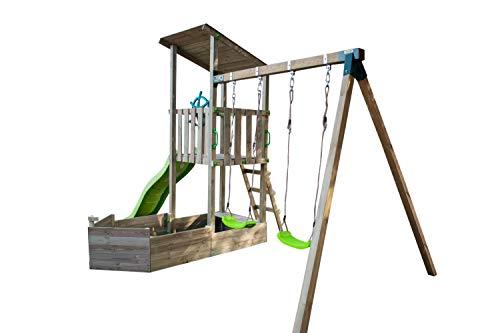 MASGAMES | Parque Infantil Nautilus | Columpios de Dos plazas | Madera tratada | Anclajes Suelo césped o Arena | Homologado Uso doméstico |