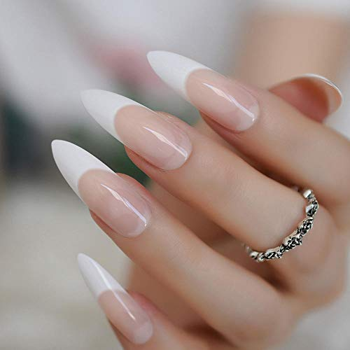 TJJF Extra Long Sharp Nail Classic White Stiletto French False Nails Tips Stilettos Sharp Beige Orange Pink Acrylic Nail Art