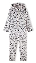 CityComfort Pijama Entero Niño con Capucha, Pijama Mono de Forro Polar, Pijama Niño Diseño Gamer, Regalos para Niños y Adolescentes 7-14 Años (Gris, 11-12 años)