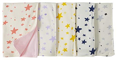Moon and Back de Hanna Andersson - Pack de 5 baberos reversibles de algodón orgánico para bebé, Rosado, One Size