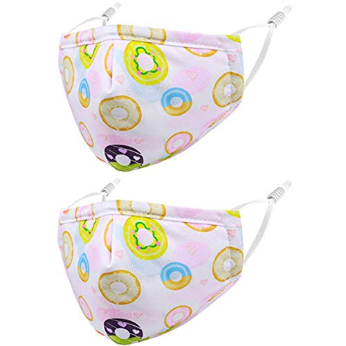 Reusable Kids Cloth Face Masks Pink Funny Designer Breathable Cute Washable Adjustable Cotton Fabric Childrens Toddler Teen Youth 4 Pack Donuts mascaras para niños, Gift for Boys Girls
