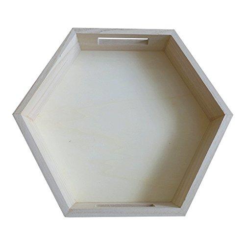Artemio Plateau Hexagonal en Bois 30 x 26 x 5 cm