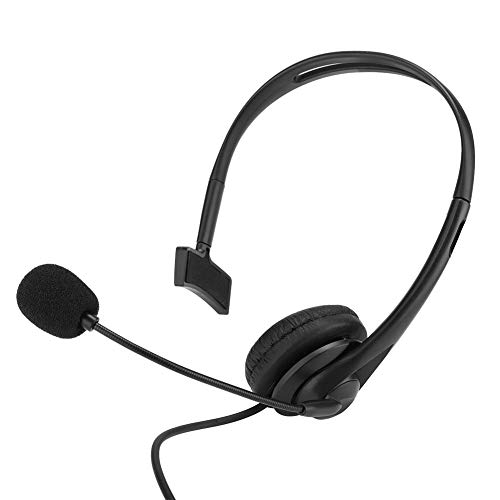 Single Sided USB Headset with Microphone, Over-The-Head Headphone, Headset Ergonomic with Artificial Leather Ear Cushion Adjustable Headband TK Connector for Two-Way Radio