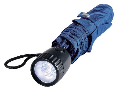 Wedo 2545003 Taschenschirm (mit LED-Licht und roter Alarm-Blinkleuchte) blau