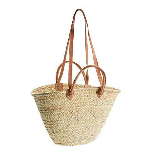 1 Große Palmtasche Ibiza-Tasche Korbtasche mit Ledergriffen und Lederhenkeln