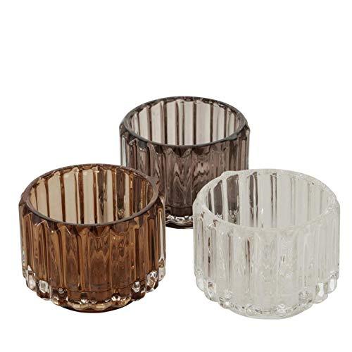 Glas Leuchter Kerzenleuchter Windlichter Teelichthalter 3er Set Sortiert braun klar H6cm D8cm