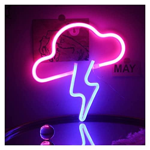 Lightning Led Cloud Neonのサインのための子供の部屋の女の子の寝室のテーブルクリスマスパーティーの装飾ギフト (Color : B-pink Cloud Blue Lightning)