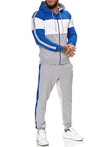 OneRedox | Herren Trainingsanzug | Jogginganzug | Sportanzug | Jogging Anzug | Hoodie-Sporthose | Jogging-Anzug | Trainings-Anzug | Jogging-Hose | Modell JG-1082 Blau-Weiss-Grau XXL