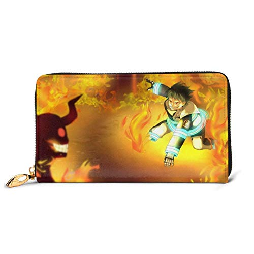 KJKT Anime Fire Force Enen No Shouboutai Womens Leather Wallet Soft Fashion Genuine Leather Zip Around Portable Wallet
