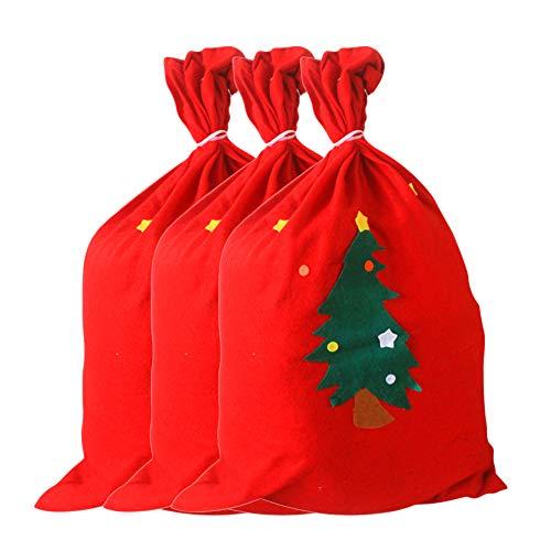 Vommpe Weihnachtsmannsäcke, rot, Weihnachtsgeschenkbeutel, Zubehör für Weihnachten, Party, Heimbedarf, 40 x 60 cm, 3 Stück