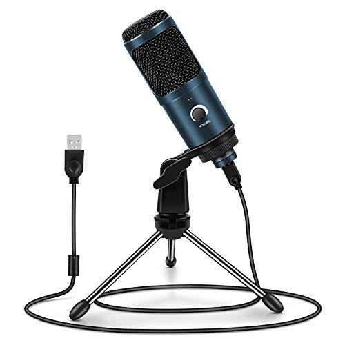 Micrófono PC, ARCHEER Micrófono USB Condensador Profesional con Soporte de Trípode para Grabación Vocal, Podcasting, Transmisión, TIK Tok, Video de Youtube para Laptop Desktop iMac PC, Azul Sscuro