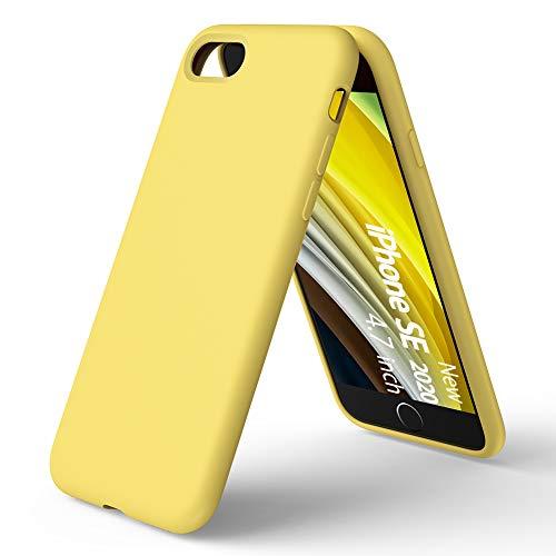ORNARTO Funda Silicone Case para iPhone SE(2020),Protección de Cuerpo Completo, iPhone 7/8 Carcasa de Silicona Líquida Suave Antichoque Bumper para iPhone 7/8/ SE(2020) 4,7 Pulgadas-Amarillo Limón