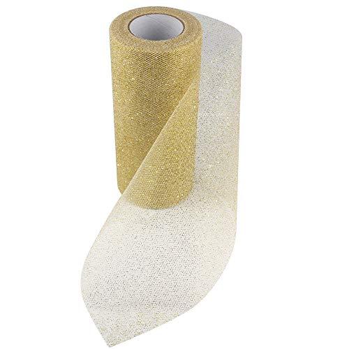 Sparkling Glitter Tulle Fabric Ribbon Roll Sparkle Mesh Ribbon 6 Inch Width 25 Yard Length for Tutu Skirt Wedding Decoration Table Runner (Gold)