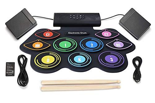 ACEBON Batería Electrónica, Drum Set, Roll Up De Batería Midi Drum Kit con Auriculares Y Altavoces Integrados Drum Pedals Y Baquetas, Niños