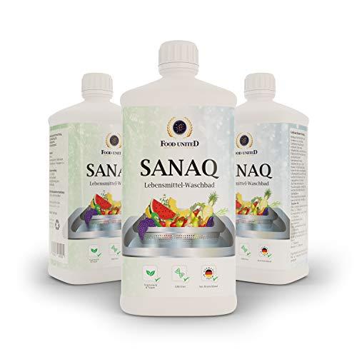 Food-United 3 x 1000ml Sanaq Säuerungsmittelmischung-Frischhaltung für Lebensmittel, Waschbadzusatz Denaturierung von Eiweißketten bei Bakterien Viren Hefen Pilzen auf Obst Gemüse Salat Beere