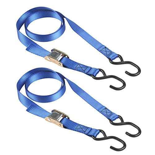 Master Lock 4368EURDAT Zertifizierter Spanngurt mit Ratsche und S-Haken, Blau, 2 m x 25 mm Gurt, 2-er Set
