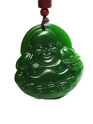 yigedan Collar con colgante de jade de Buda tallada a mano, color verde natural