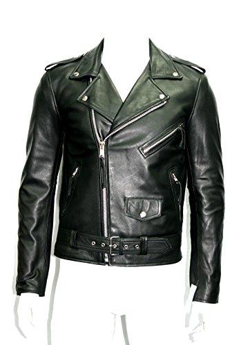 Homme noir brando style motard nappa souple en cuir véritable veste (UK 3XL / EU 58)