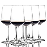 CREST - Juego de 8 copas de vino tinto de 360 ml, cristal de cristal, tallo largo,...
